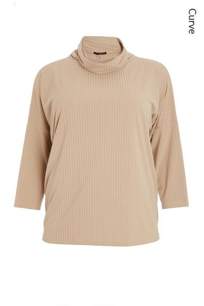 Curve Stone Ribbed Roll Neck Top